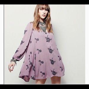 Free People Embroidered Emma Austin Purple Dress